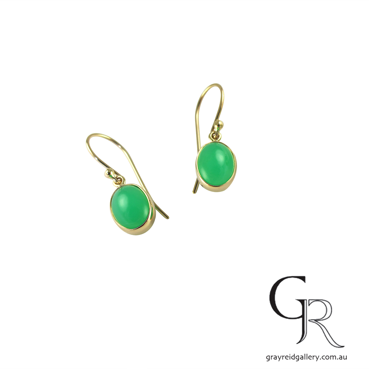 Chrysoprase Earrings in Yellow Gold