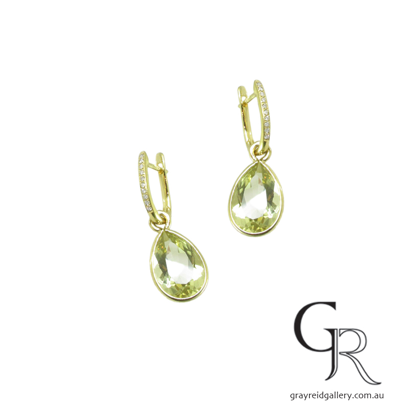 Green Amethyst, Diamond set Gold Earrings