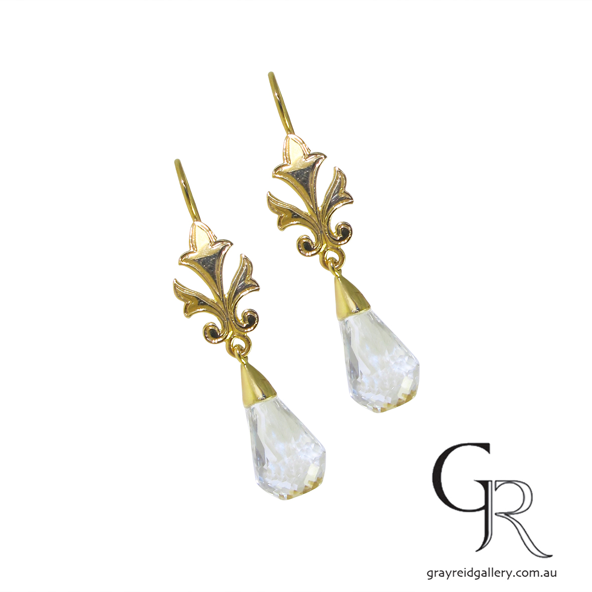 Colourless Topaz Yellow Gold Drop Earrings