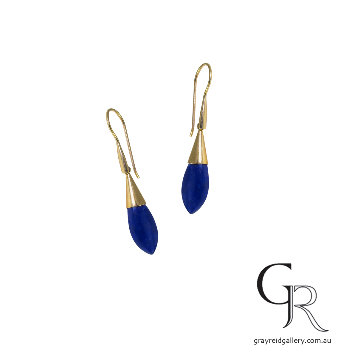 Yellow Gold Lapis Lazuli Earrings