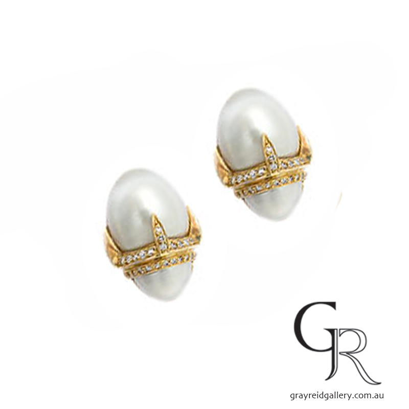 Pearl 'Egg' Earrings In Yellow Gold Set With Diamonds