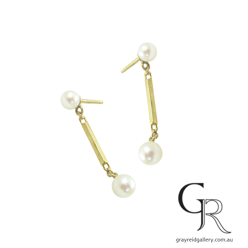 Akoya Pearl Earrings On Bar Drops