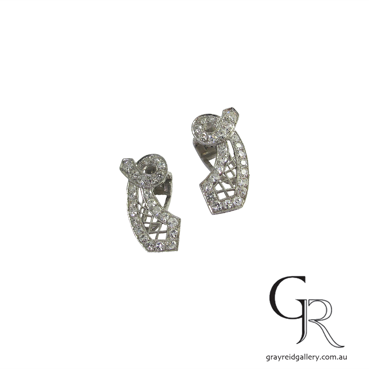 Vintage White Gold Diamond Set Ear Clips