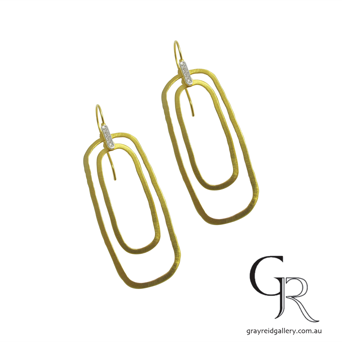 Contemporary Design Yellow Gold Earrings