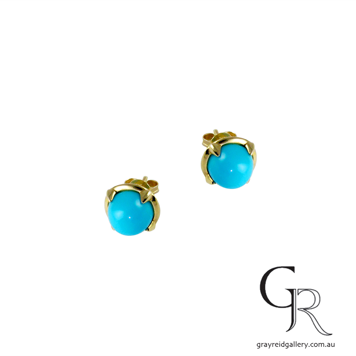 Yellow Gold Turquoise Studs