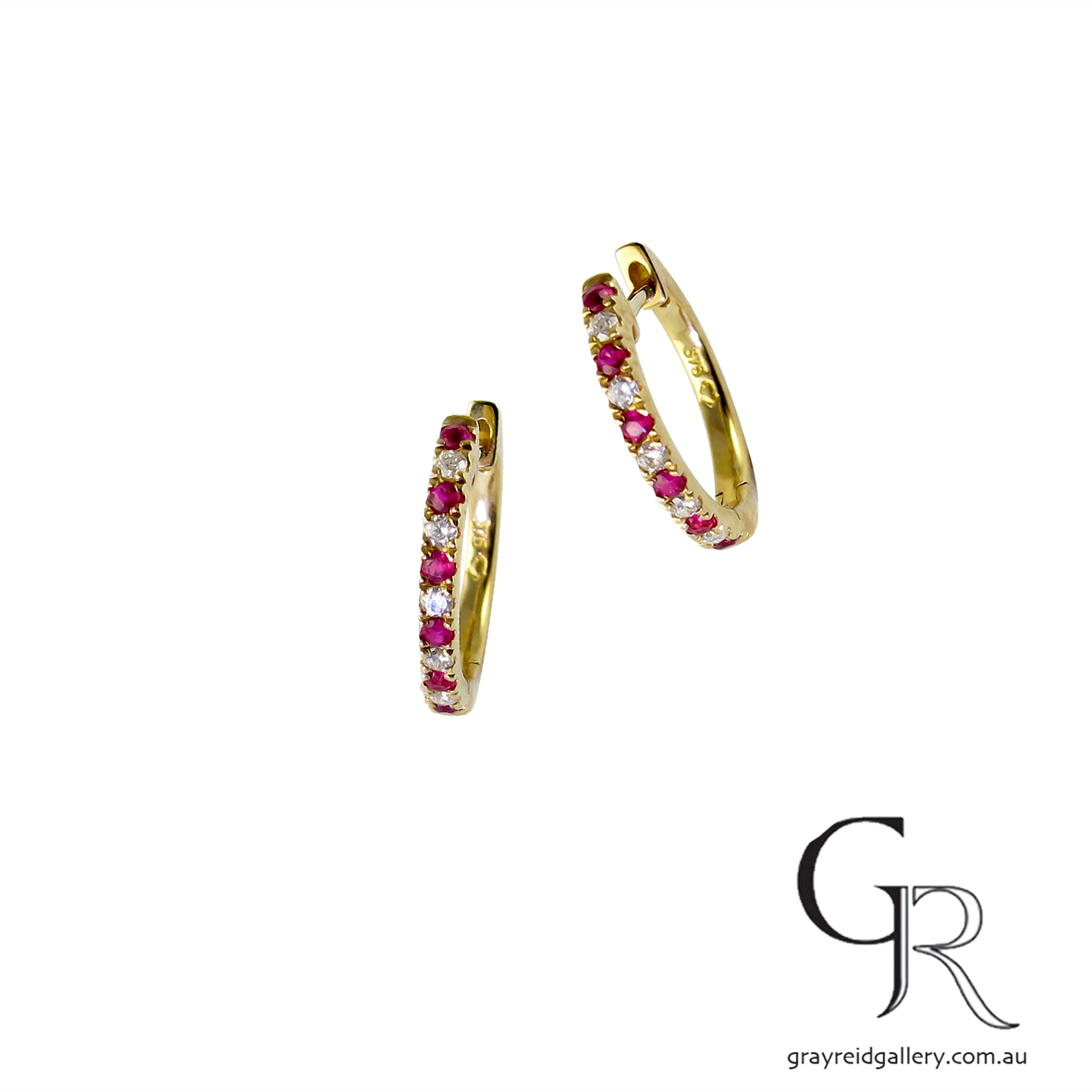 Diamond & Ruby 'Huggie' Earrings