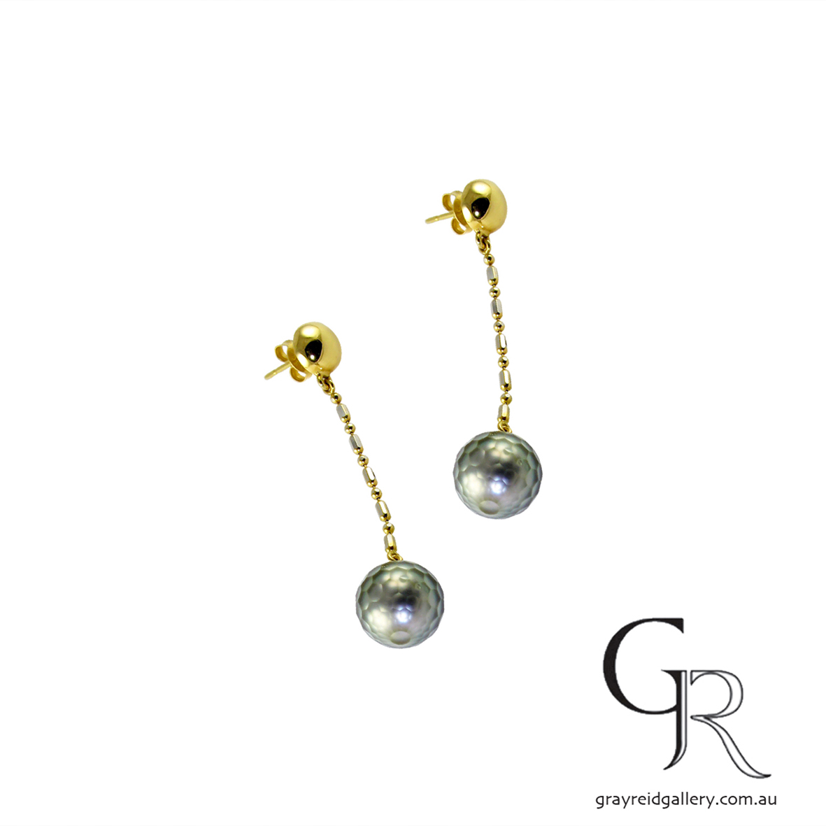 Faceted Tahitian Pearl Earrings