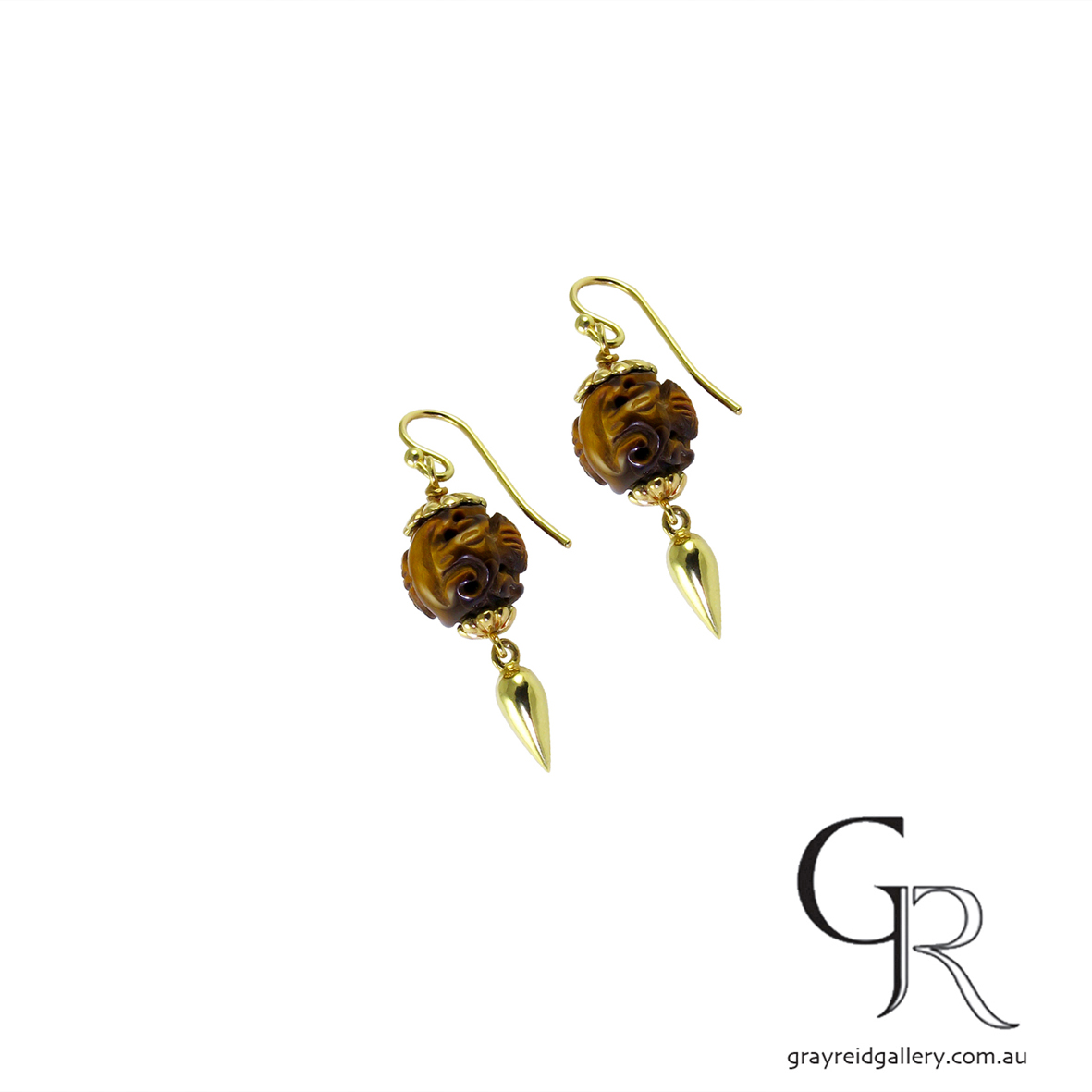 Carved Tiger Eye Earrings in Yellow Gold