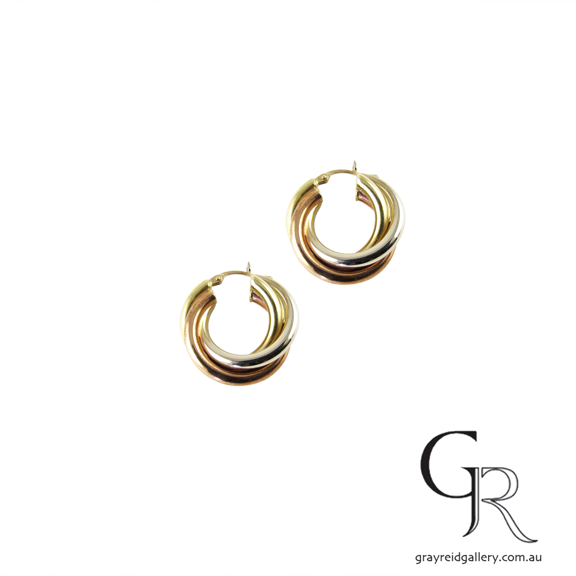 Rose, White & Yellow Gold Earrings