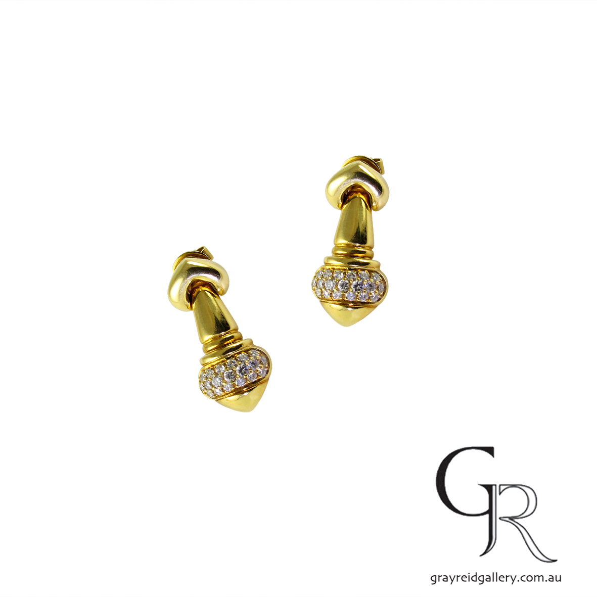 Vintage Yellow Gold Diamond Set Earrings
