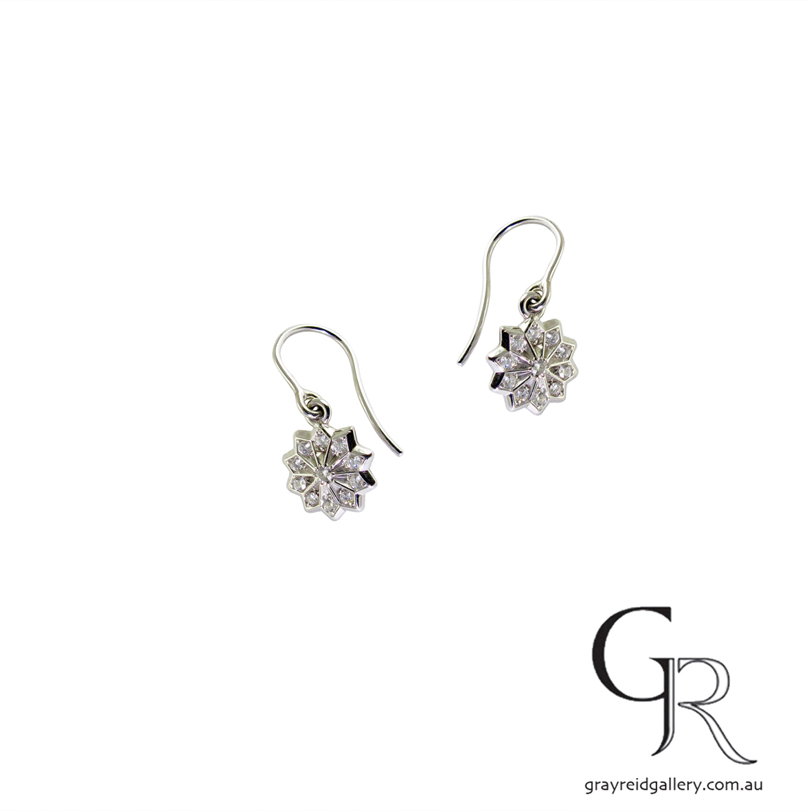 White Gold Diamond 'Star' Earrings