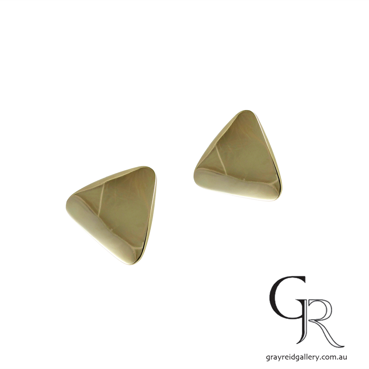 Yellow Gold Triangle Earrings