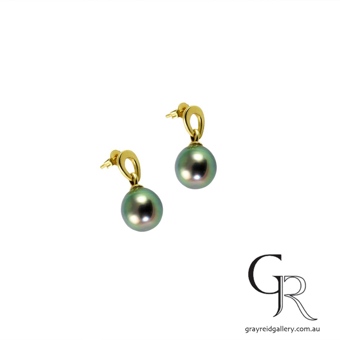 Tahitian Pearl Earrings In Yellow Gold