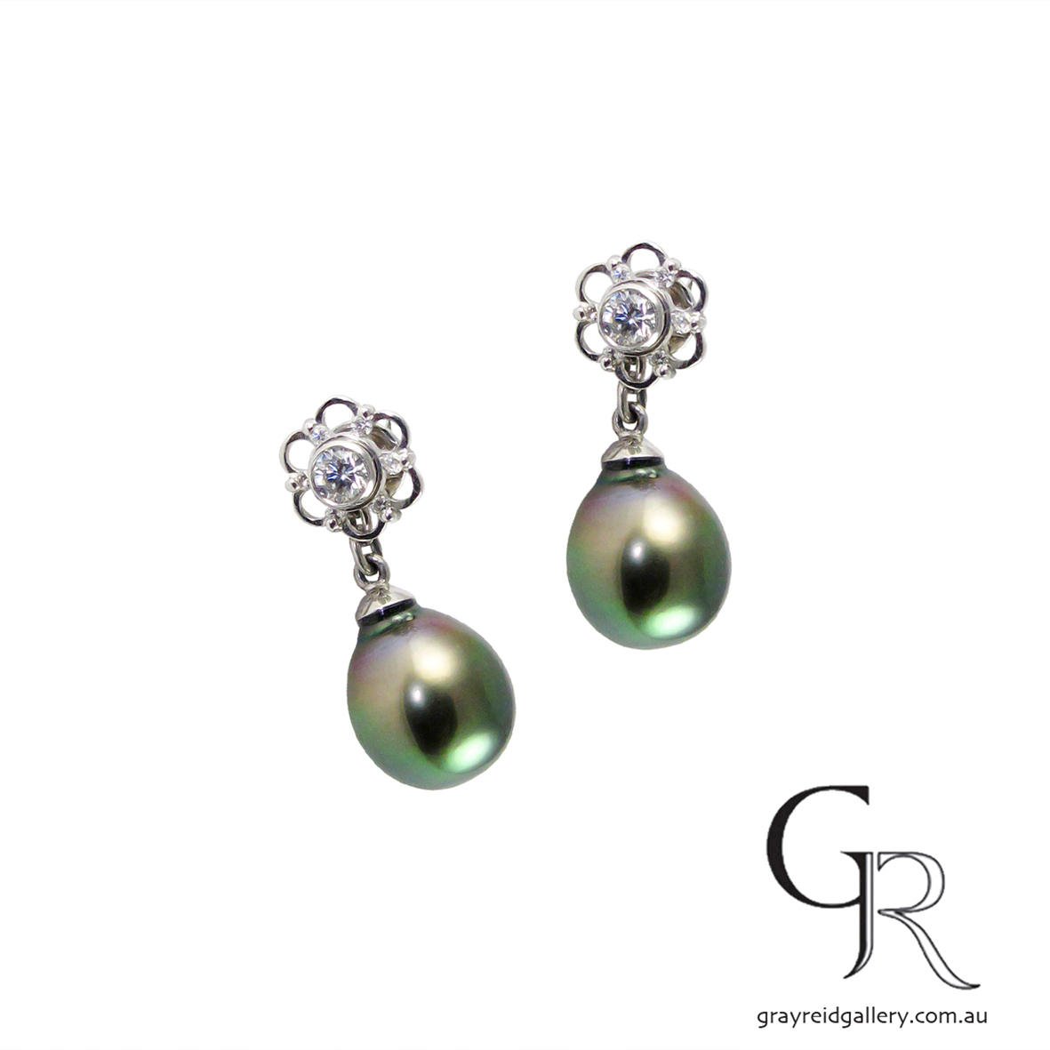 Tahitian Pearl Enhancers With Diamond Studs