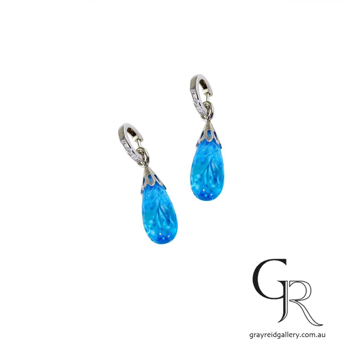 Carved Blue Topaz White Gold Earrings