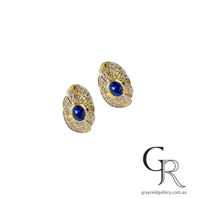 Vintage Sapphire & Diamond Earrings