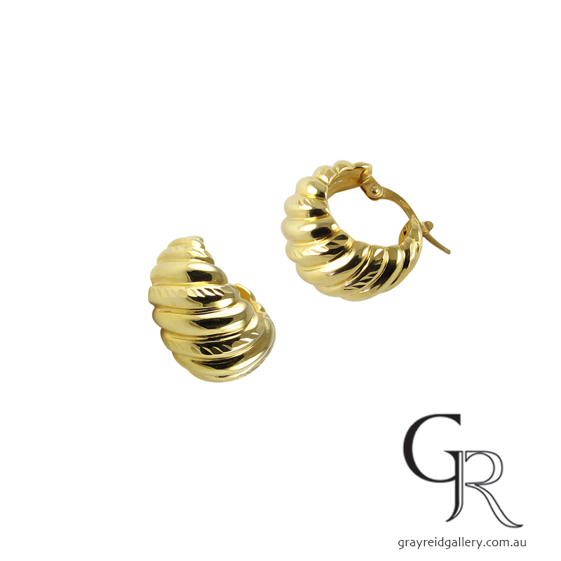 Yellow Gold 'Fold' Earrings