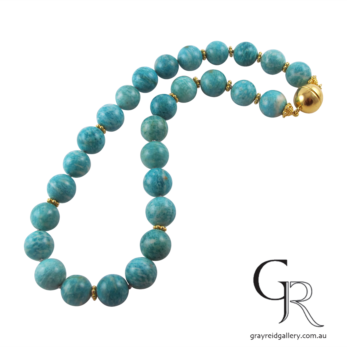 Natural Amazonite Beads With Gold Clasp