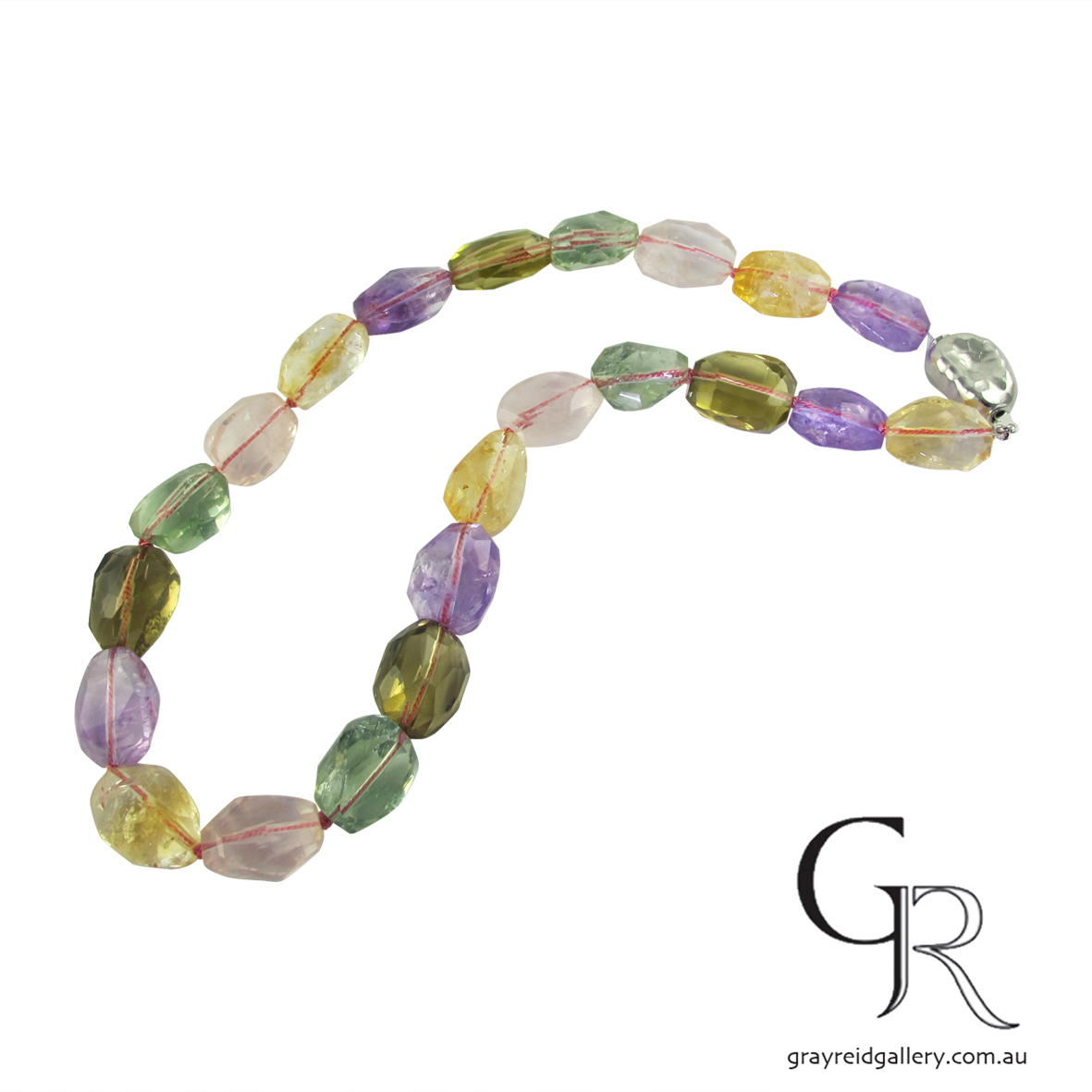 Amethyst, Rose, smoky & Green Quartz Bead Necklace