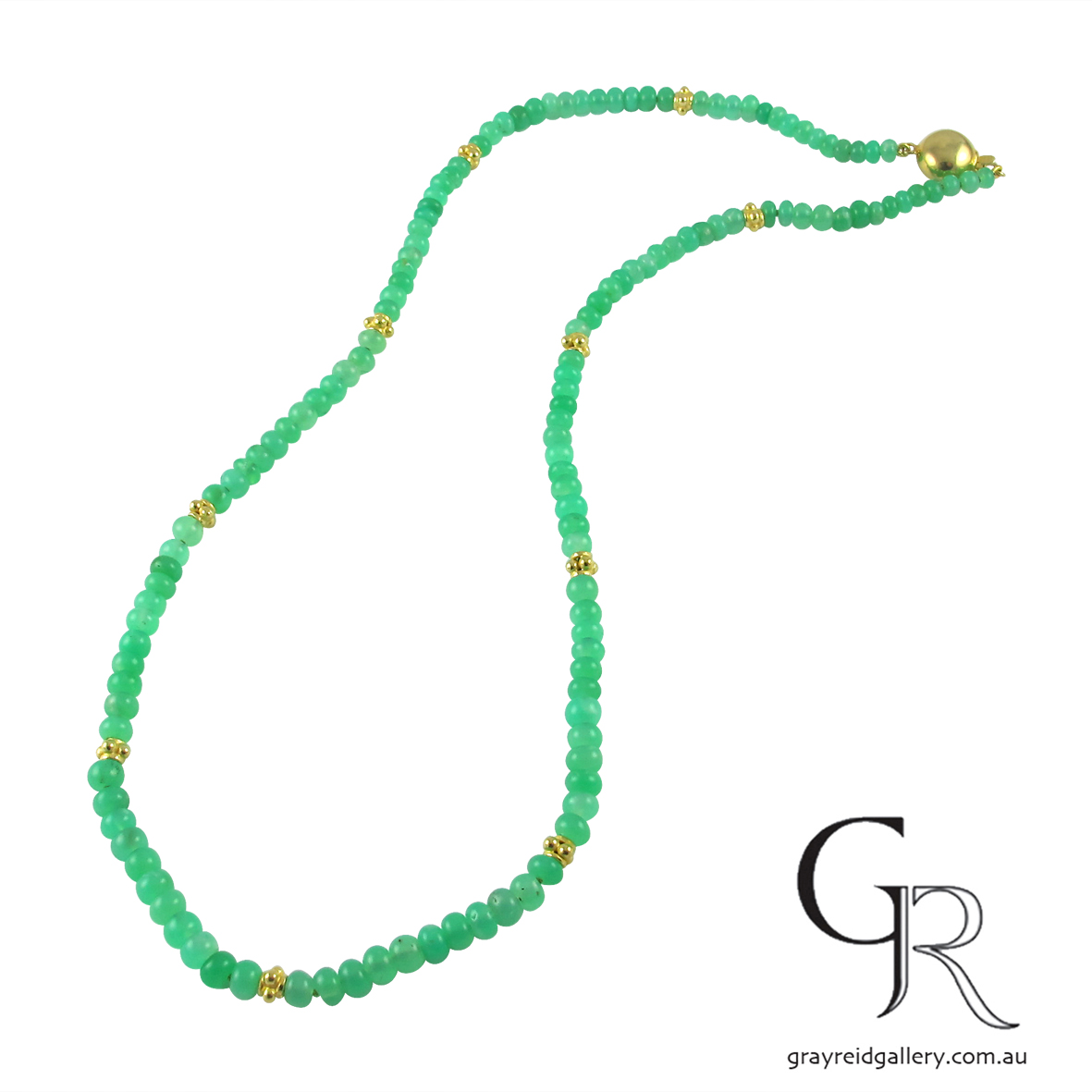 Natural Chrysoprase Beads With Gold Clasp