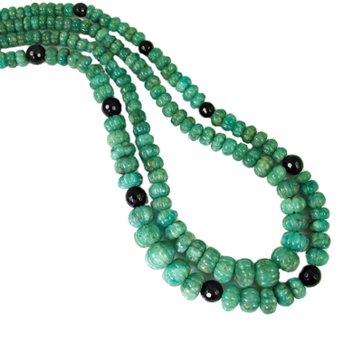 Carved Emerald Beads