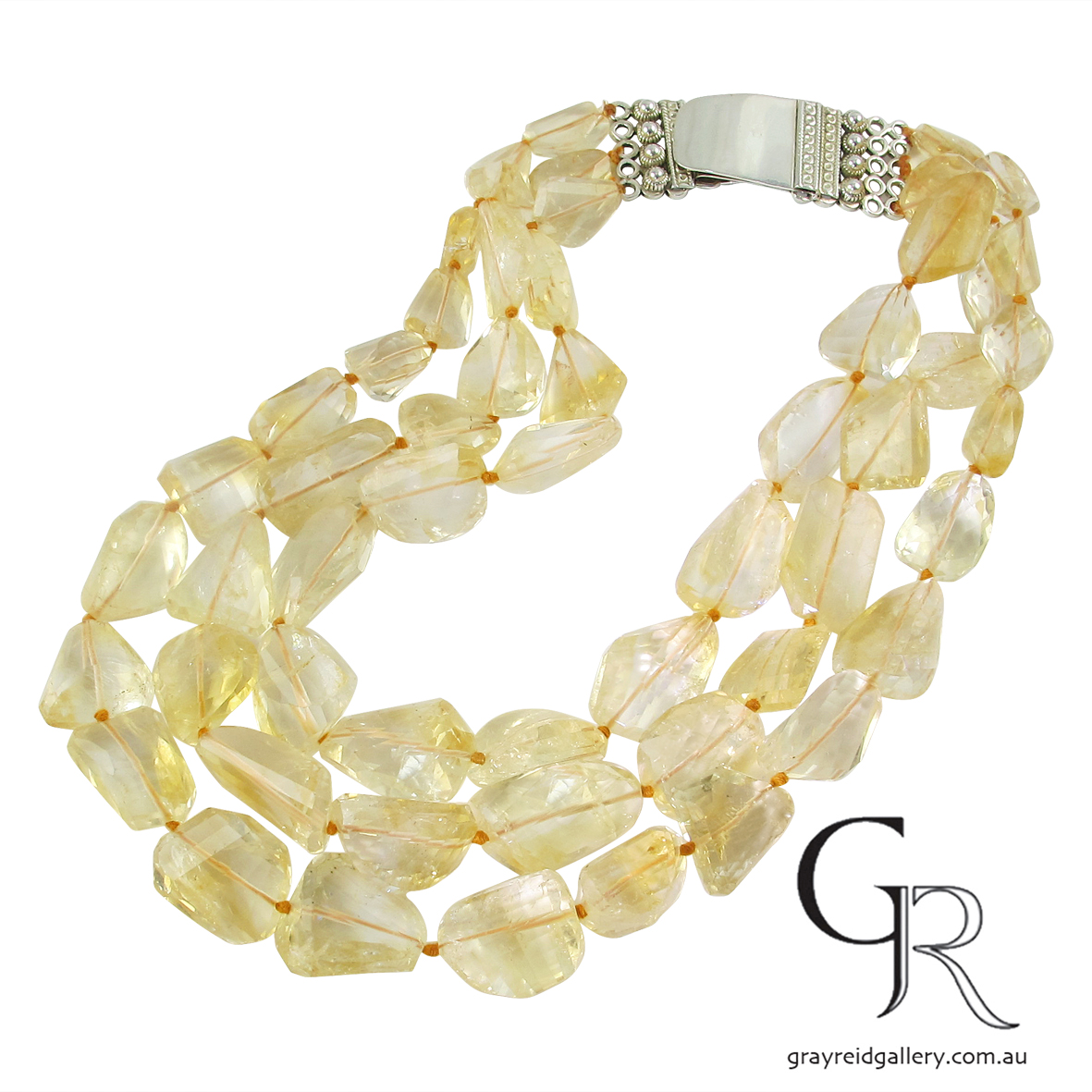 Faceted Citrine Beads With Silver Clasp
