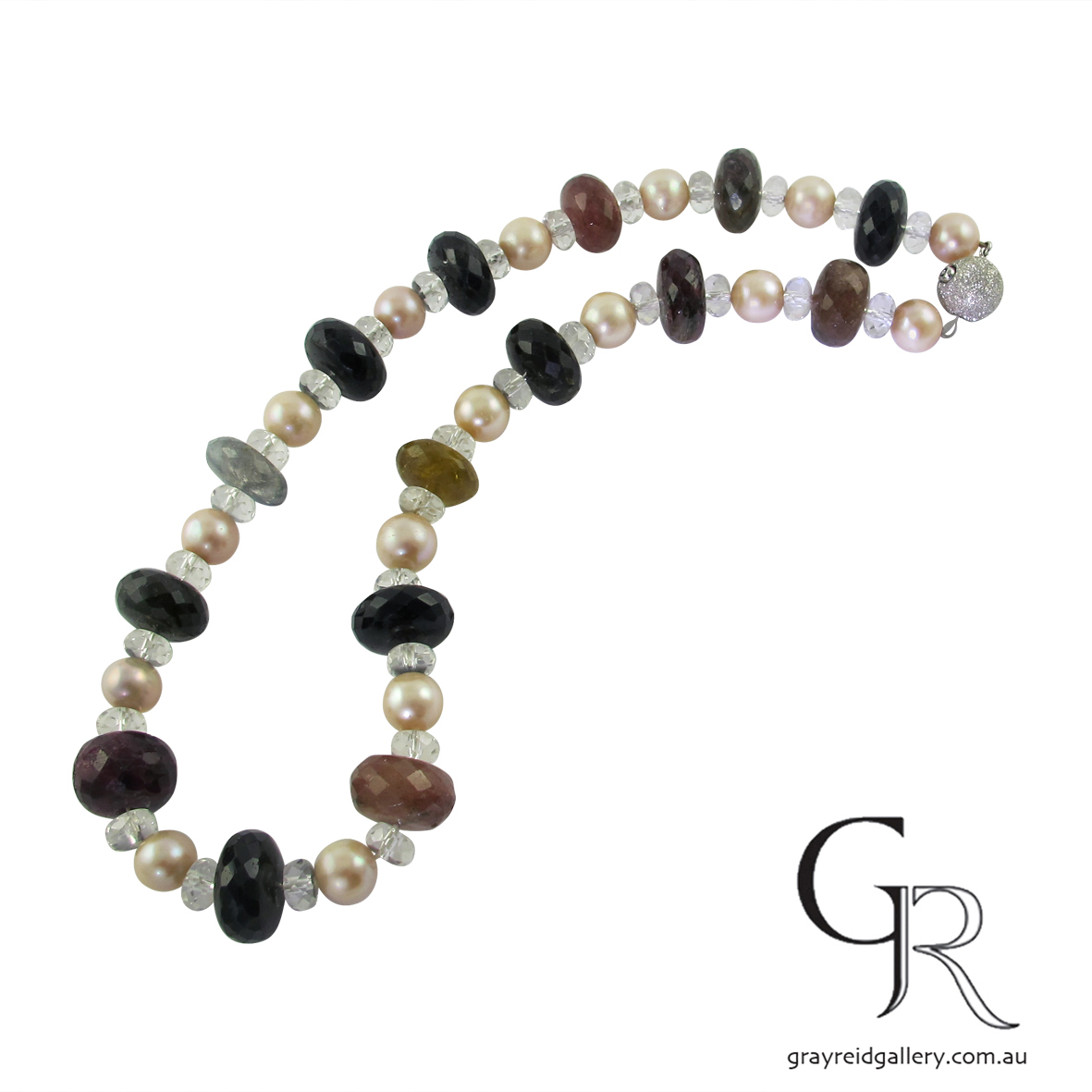 Tourmaline Beads With Fresh Water Pearls