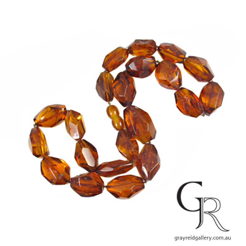 Vintage Faceted Amber Necklace Melbourne Gray Reid Gallery.jpg