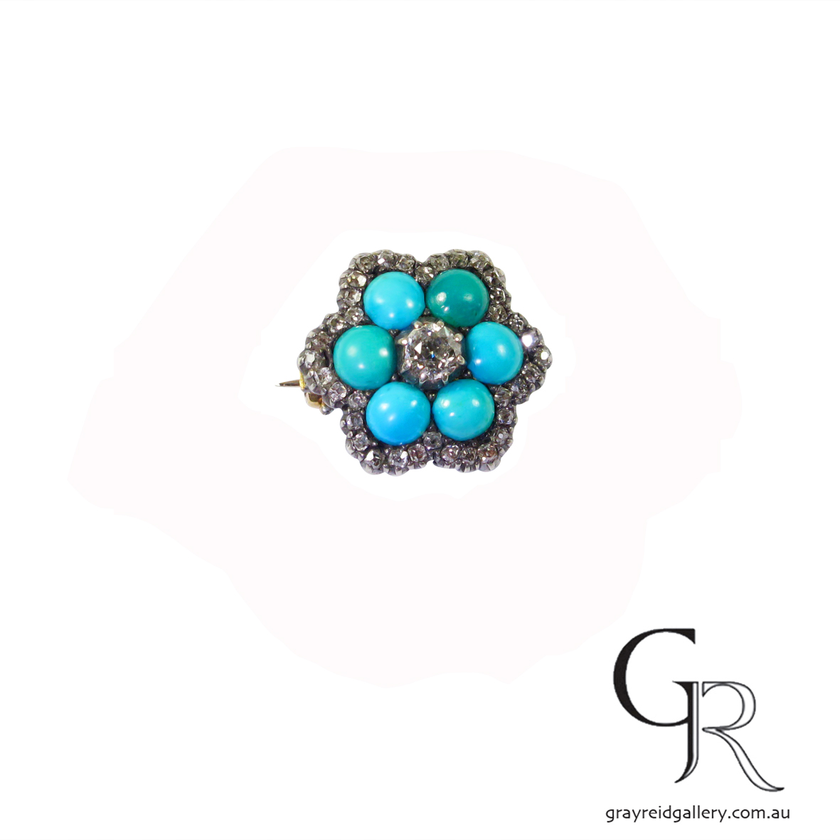 Antique diamond and turquoise brooch Melbourne Gray Reid Gallery32.jpg