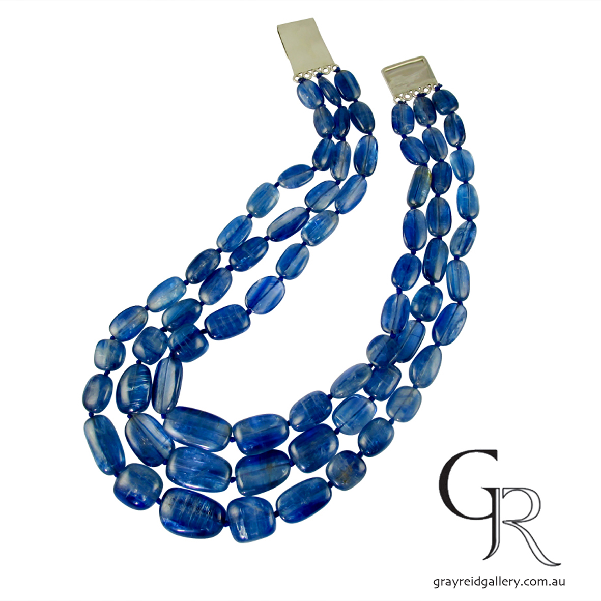 Tumbled Kyanite Beads With Silver Clasp