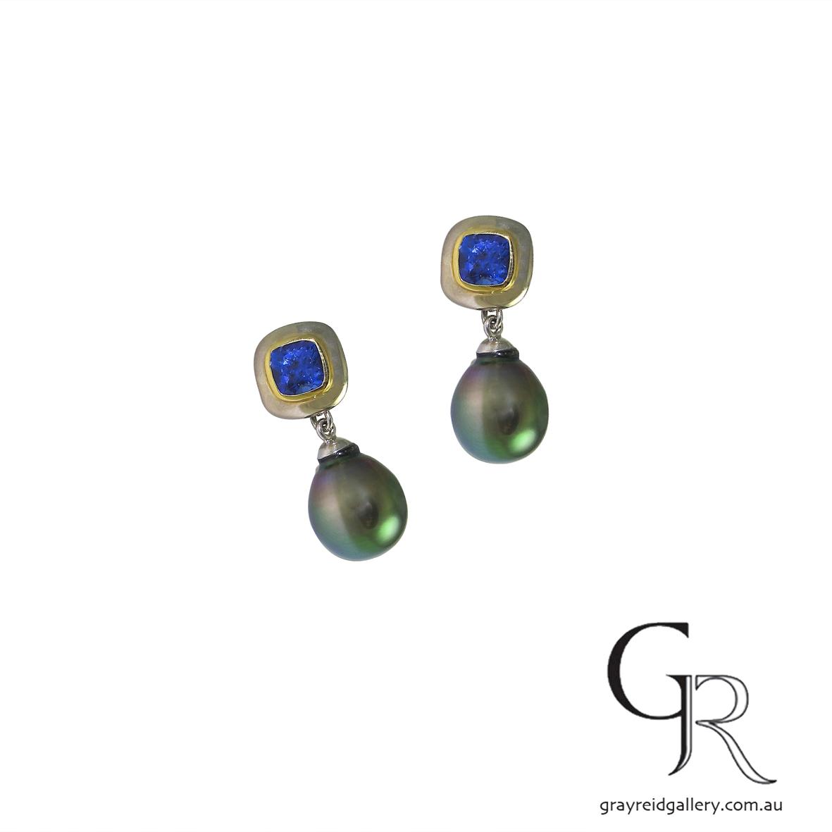 tanzanite earrings studs in yellow and white gold tahitian pearl drop melbourne.JPG