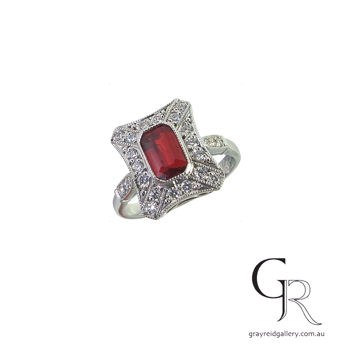 Red Spinel And Diamond Engagement Ring