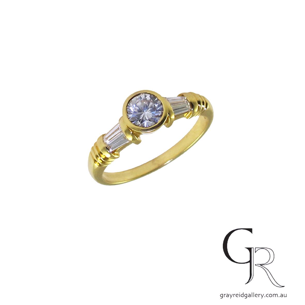 Round & Baguette Cut Diamond Engagement Ring
