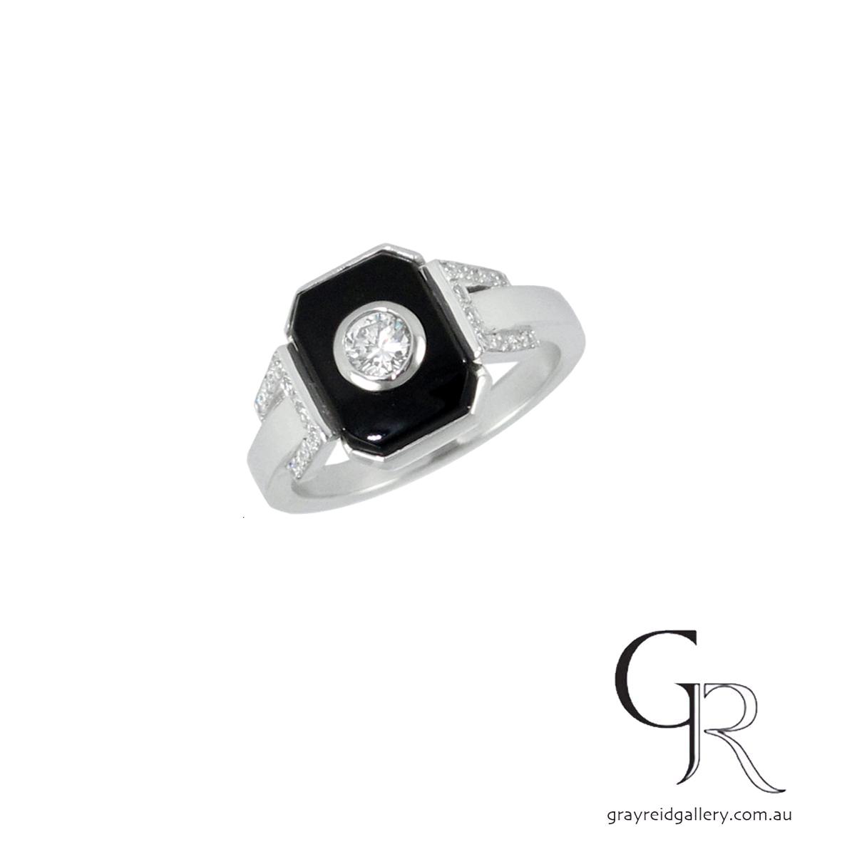 Onyx & Diamond Engagement Ring