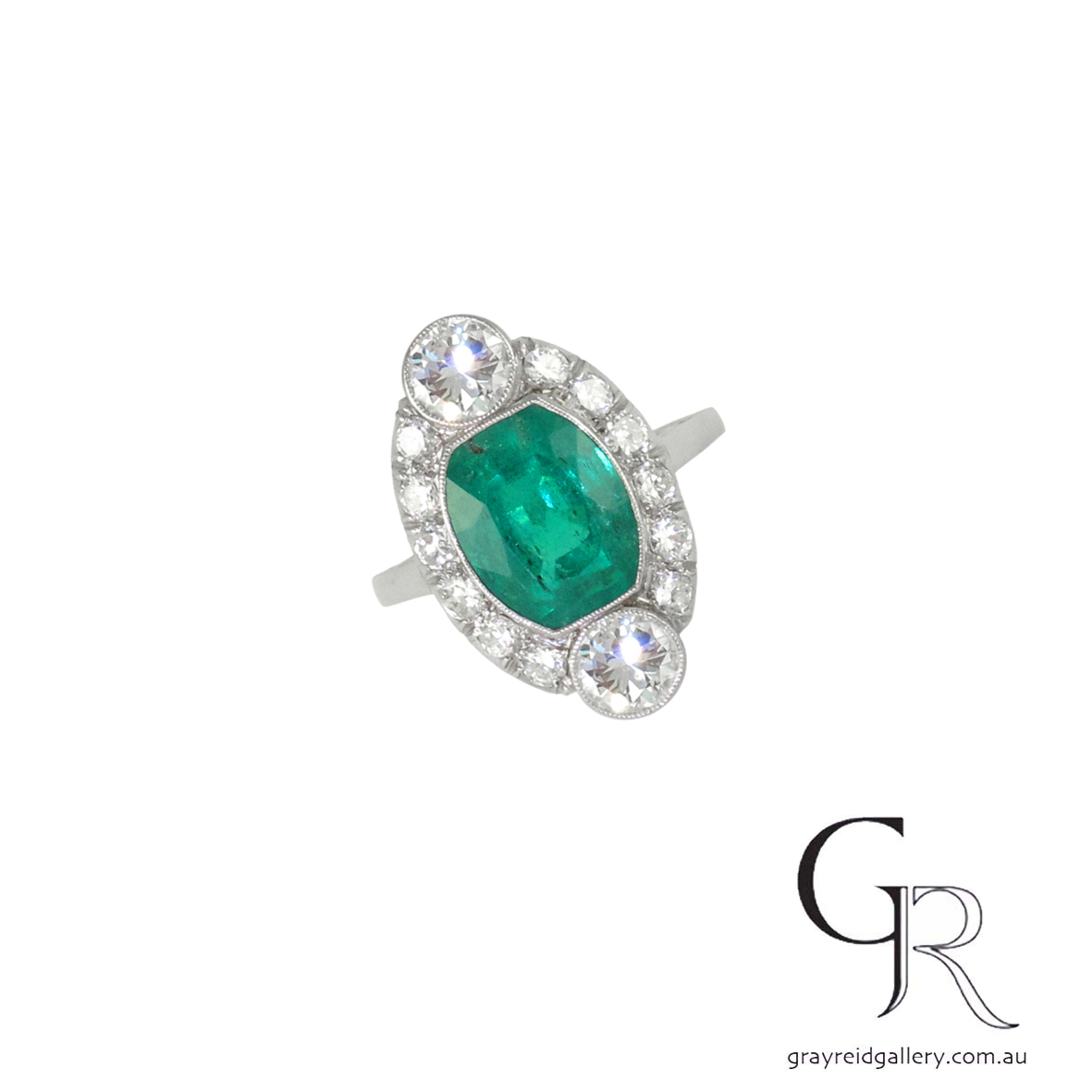 Antique Emerald _ Diamond Ring Melbourne Gray Reid Gallery.JPG