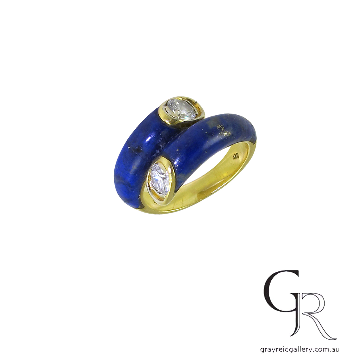 diamond lapis lazuli carved yellow gold vintage ring.jpg
