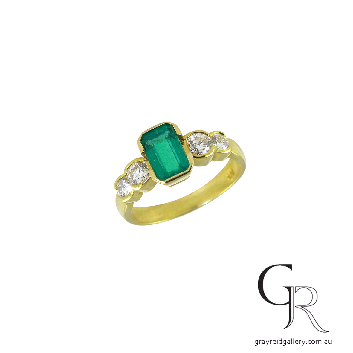 emerald and diamond engagrement ring yellow gold melbourne gray reid gallery.jpg