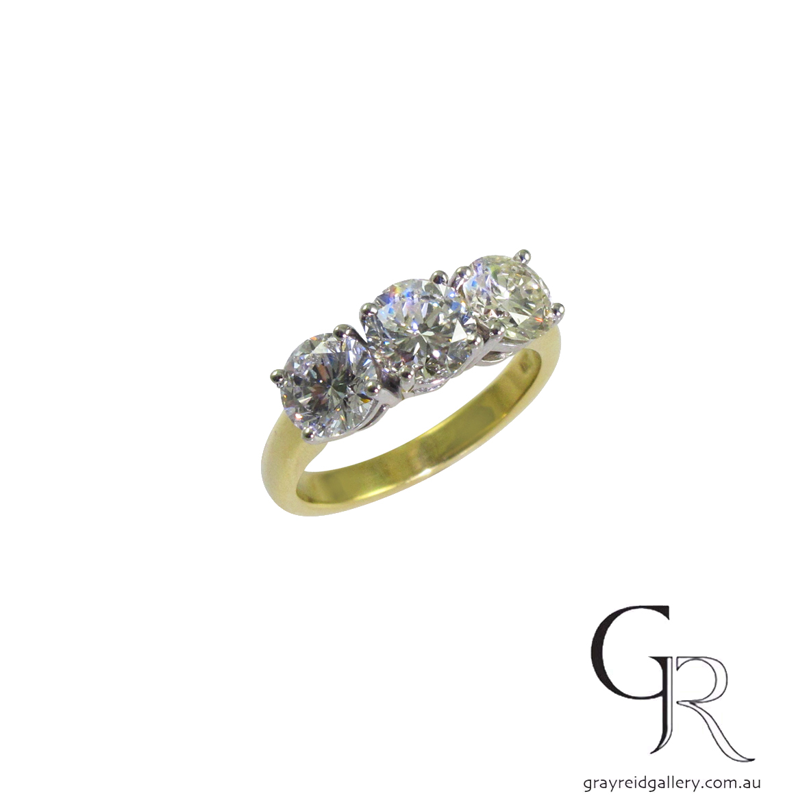 Engagement Ring Melbourne Gray Reid Gallery Yellow gold 3 stone.JPG