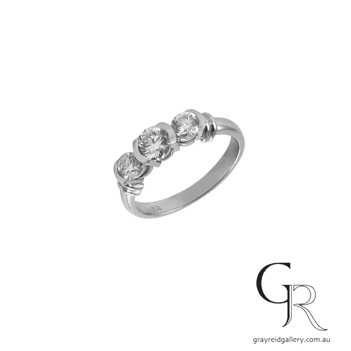 Engagement Ring Melbourne semi bezel white gold  Gray Reid Gallery.jpg