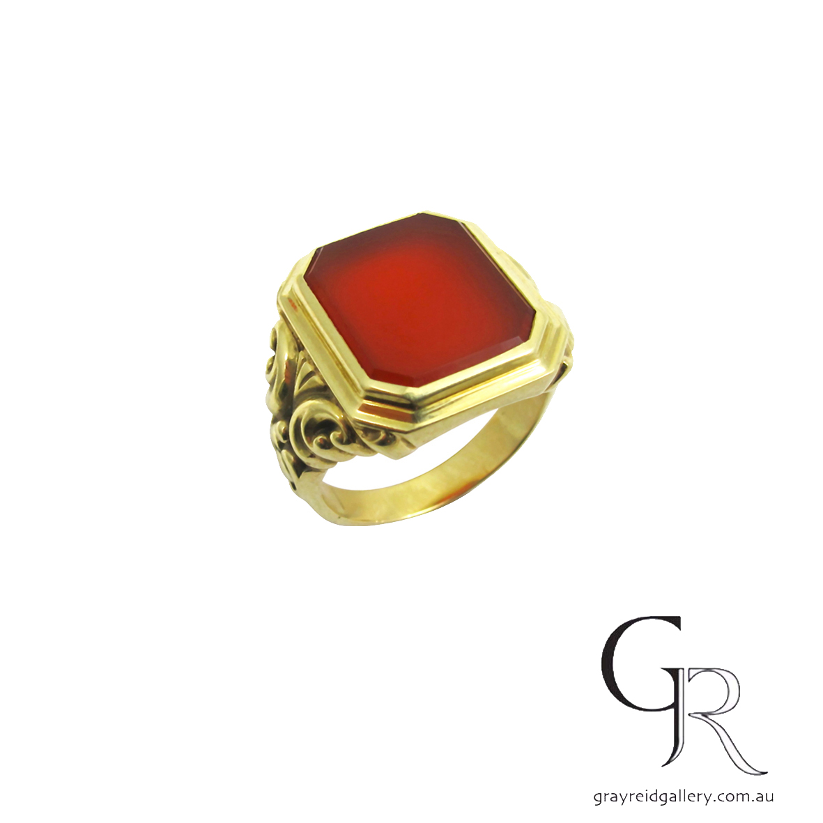 signet ring gents carnellian yellow gold melbourne.JPG