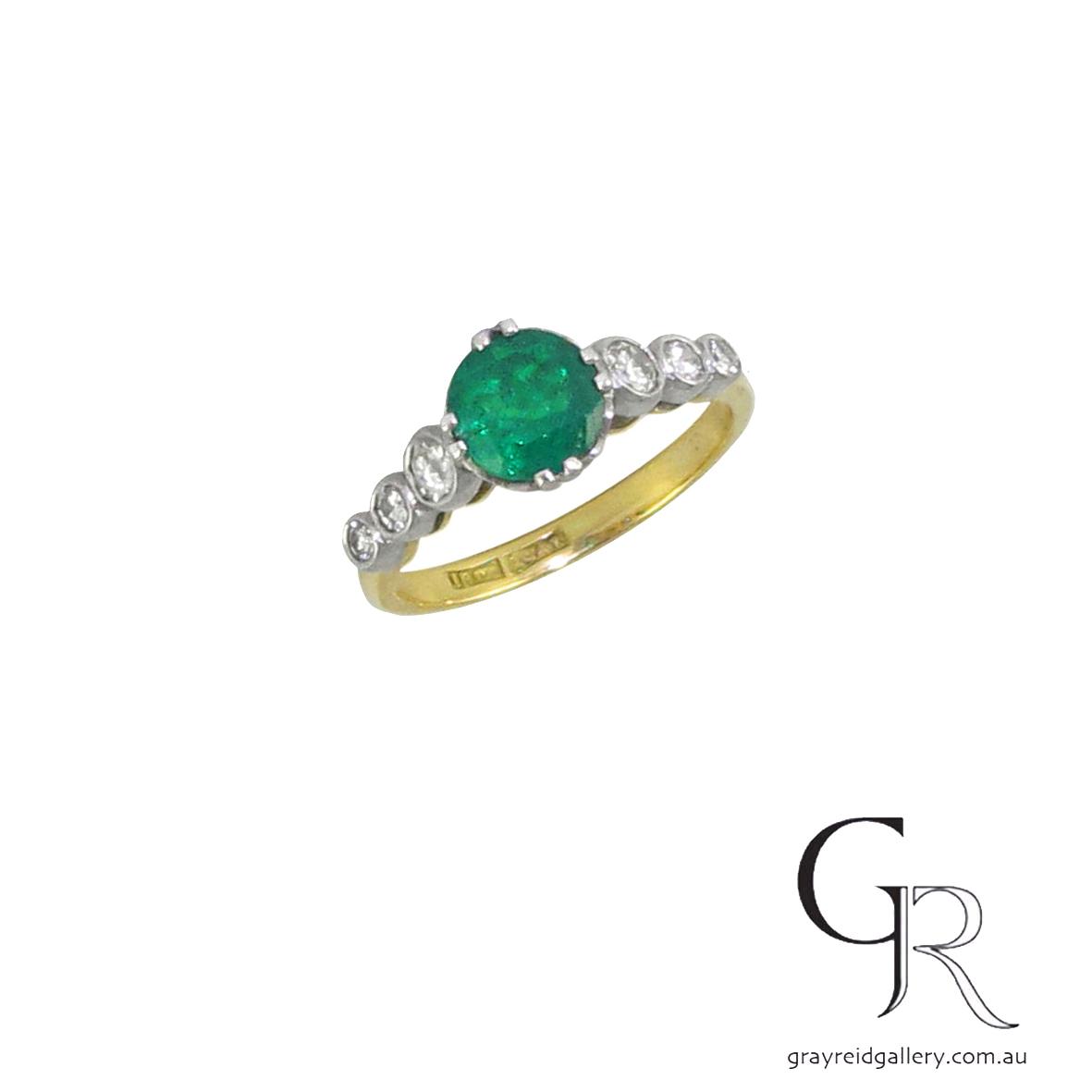 Round Emerald & Diamond Engagement Ring