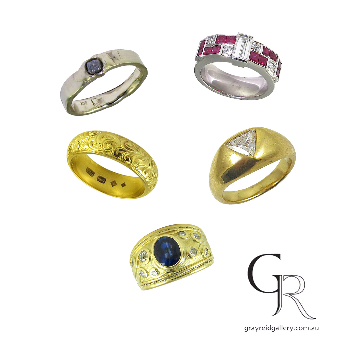 Selection of bespoke mens engagement rings at Gray Reid Gallery.