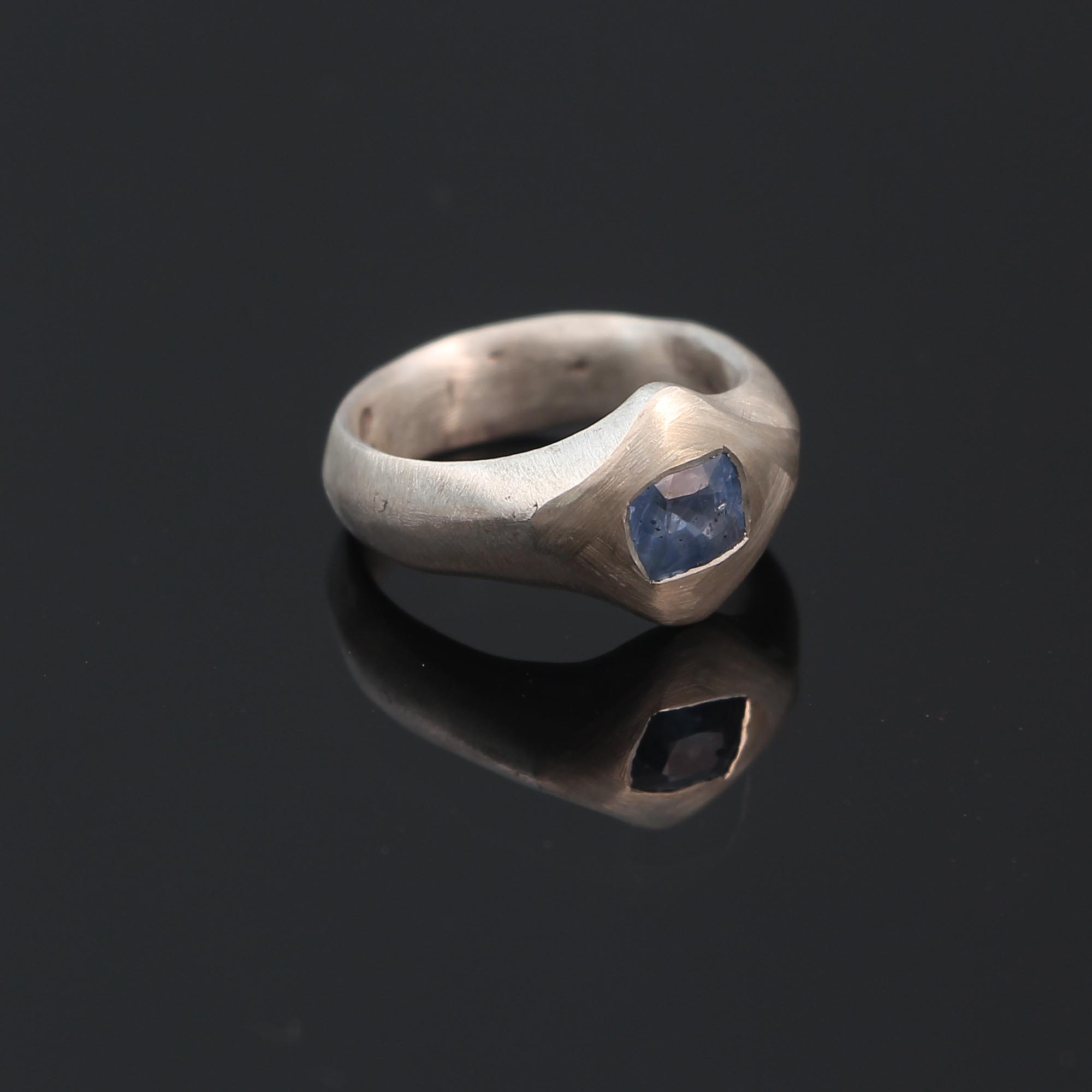 contemporary natural pale blue sapphire ring in sterling silver by melbourne jewellery designer Alexander Wilson at gray reid gallery 2.JPG