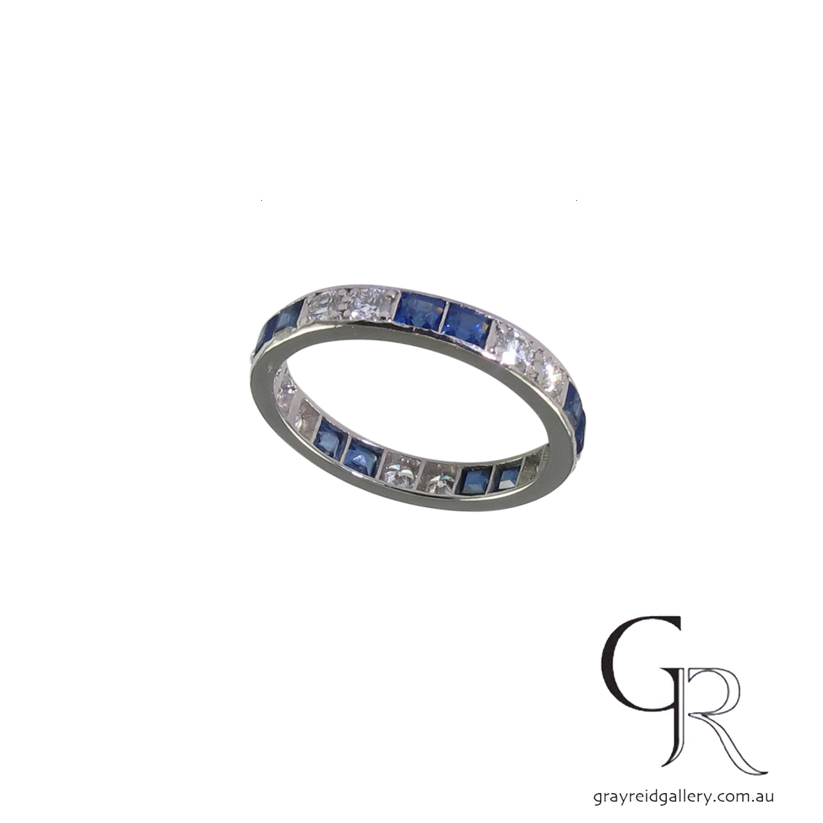 princess cut sapphire and diamond ring custom made wedding bands melbourne EL43 B.jpg