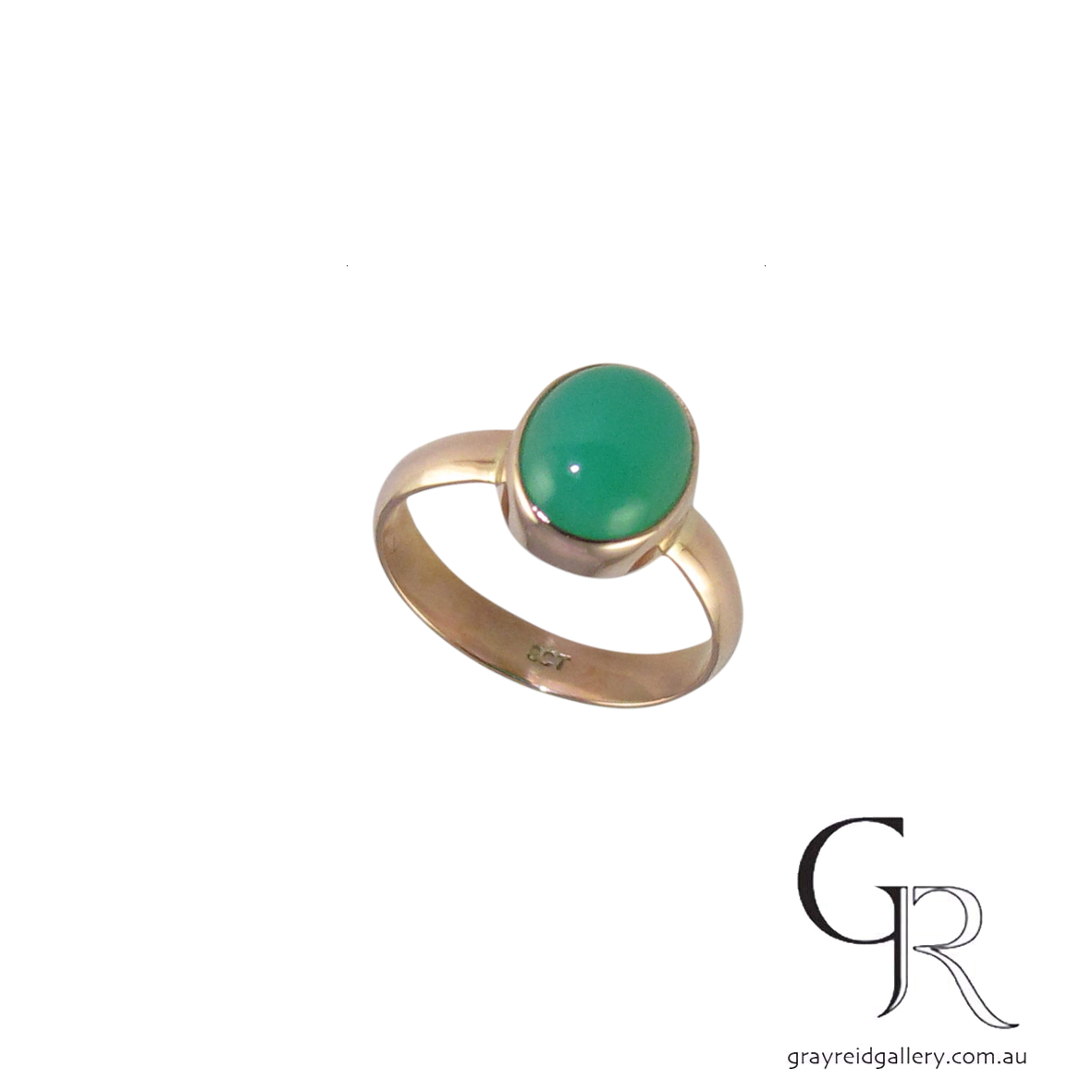 custom made 9ct gold chrysoprase ring gray reid gallery 6535 A $490.jpg