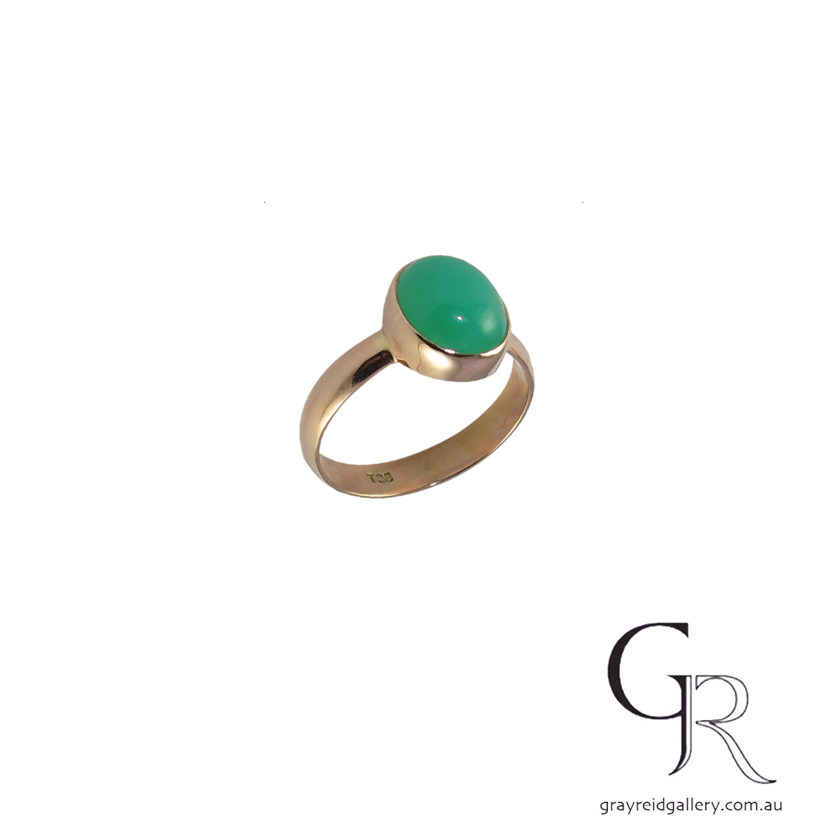 custom made 9ct gold chrysoprase ring gray reid gallery 6535 B $490.jpg