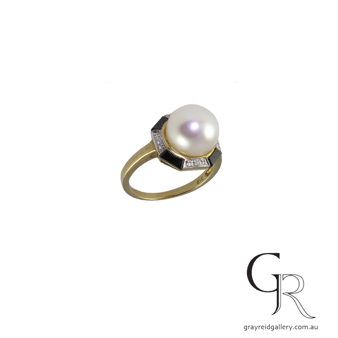 custom made deco style 9ct gold pearl ring 5513 B $1200.jpg