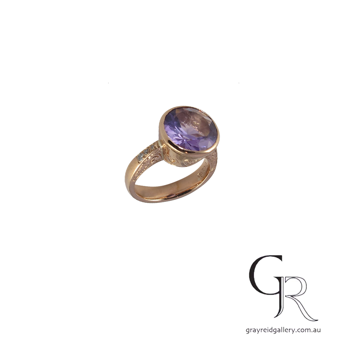 9ct pink gold amethyst and diamond ring KK30 B $800.jpg