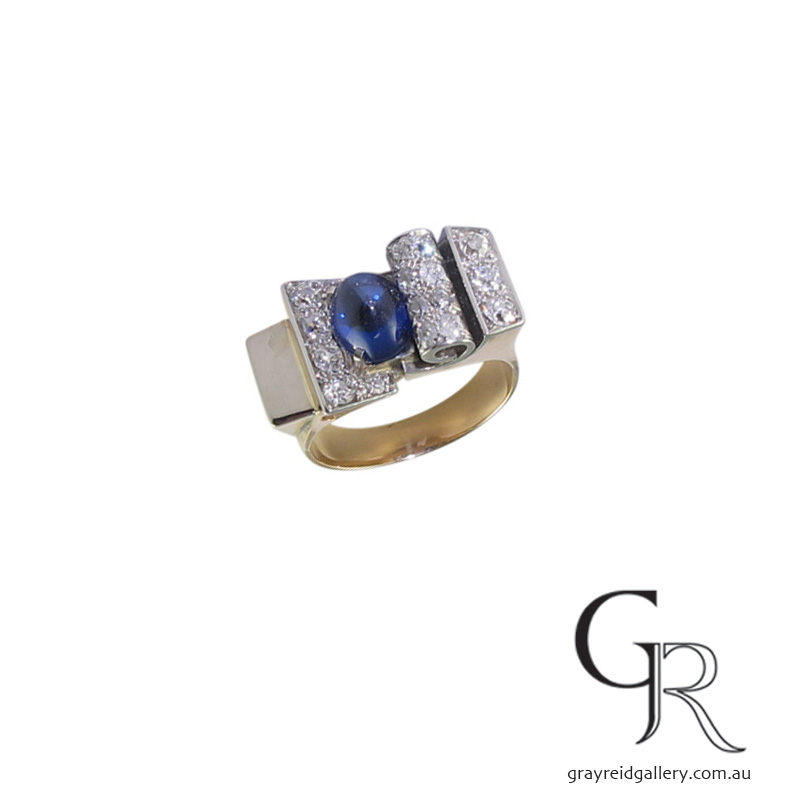 Sapphire Retro Cocktail Ring