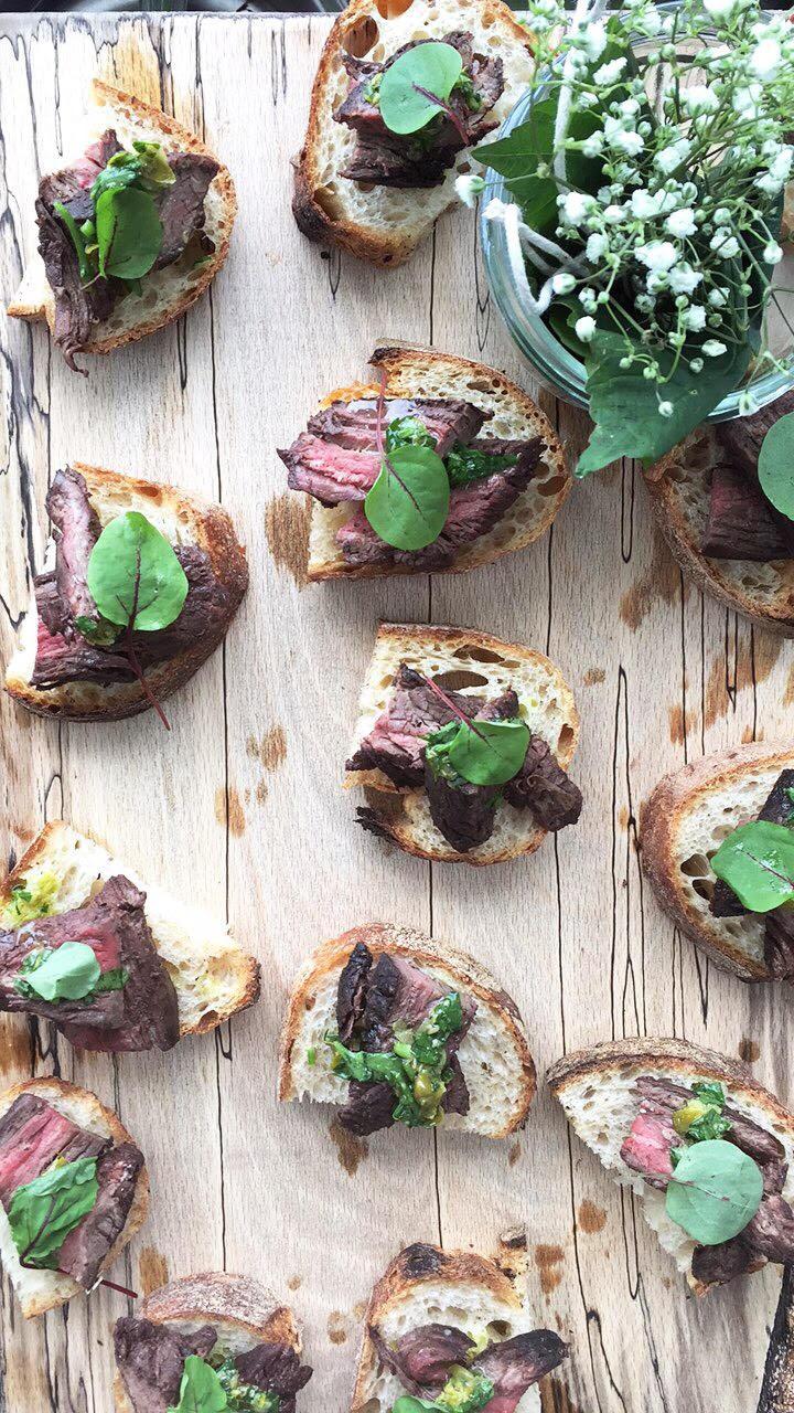 Steak crostini with salsa verde